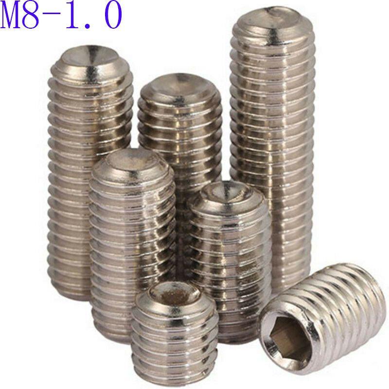 M8 304 Stainless Steel Grub Screws Allen Socket Set Screw Cup Point