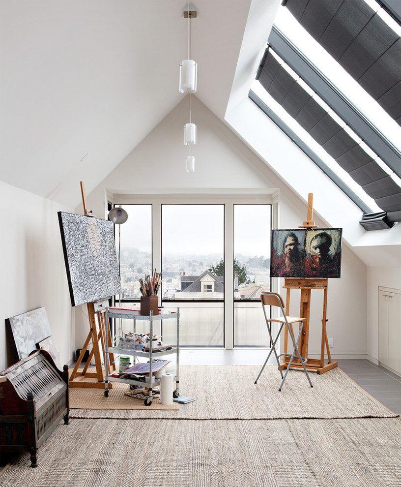 Contemporary art studio home office contemporary with sliding windows sky light artist studio