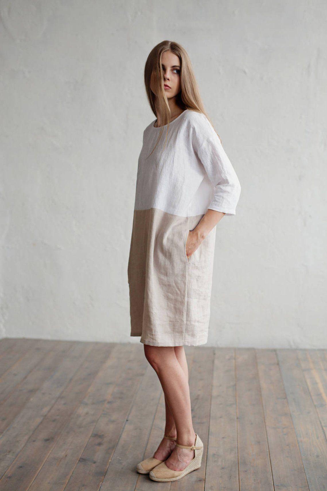 Fonkelnieuw Kleur blok linnen jurk ADRIA. Witte en natuurlijke linnen kleuren NI-73