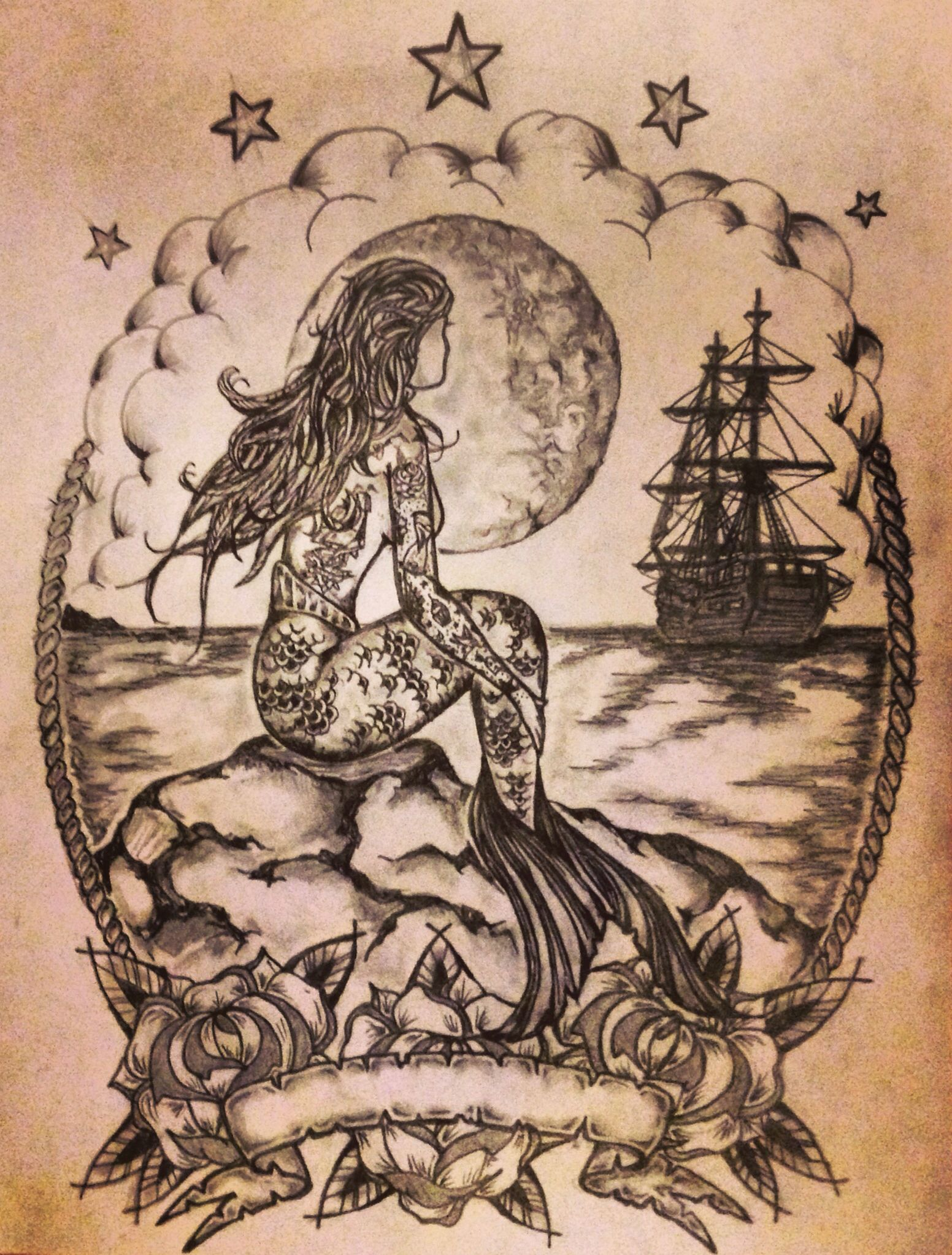 Mermaid Ship Tattoo Sketch By