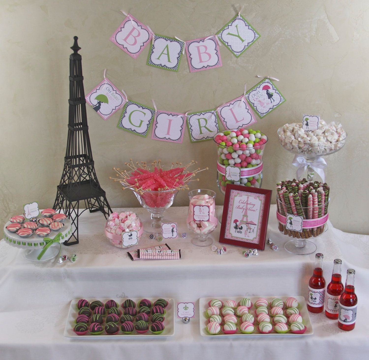 Chic PARIS Baby Shower DIY Party Printables Package. Pink, Green, Black And  White