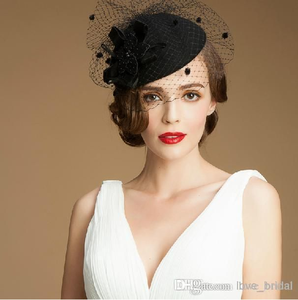Black Pillbox Fascinator Hats Wool Tail Fascinators Wedding Guest Hat Formal Evening Headwear Felt Feather Perching