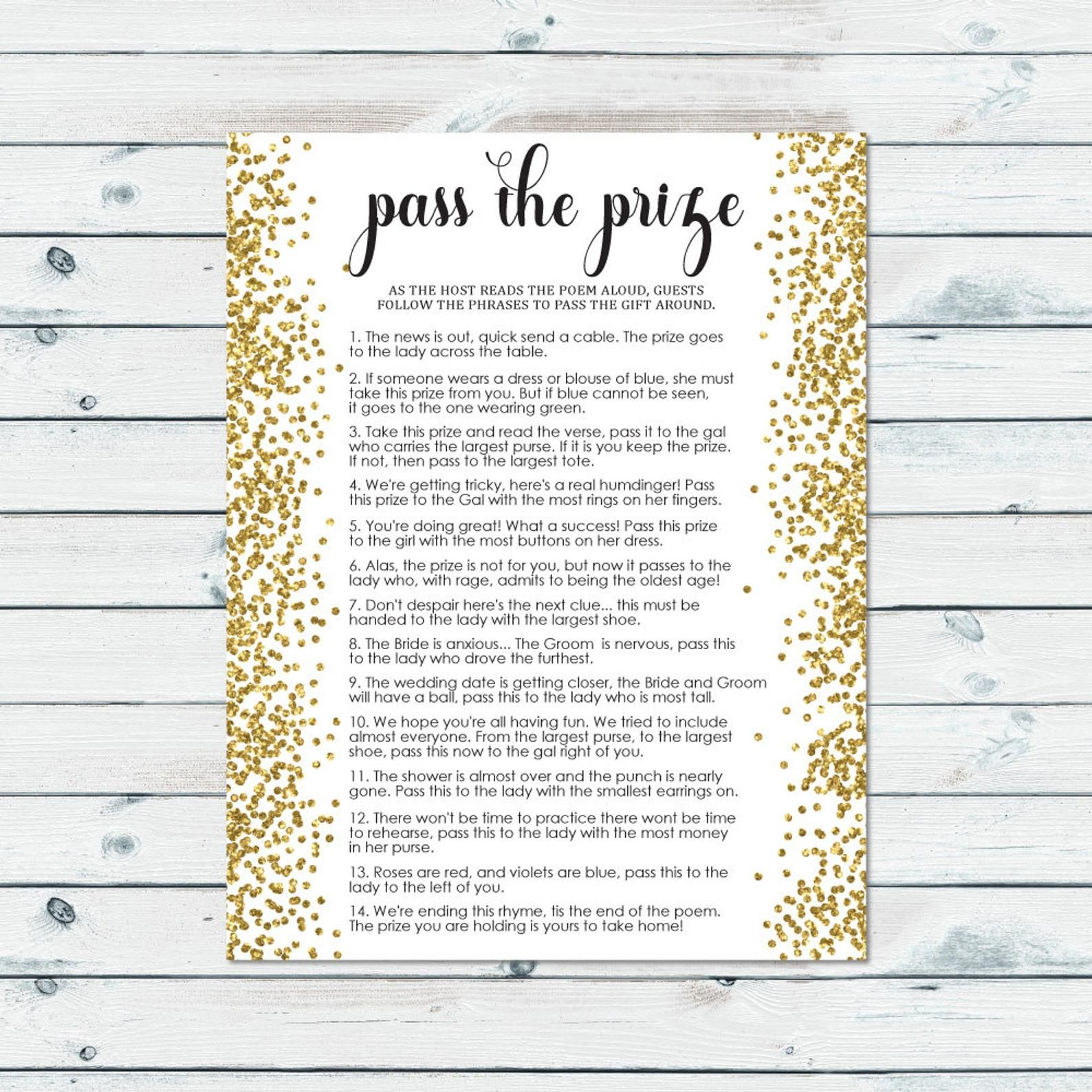 graphic about Baby Shower Pass the Prize Rhyme Printable known as P the prize bridal shower activity p the parcel rhyme