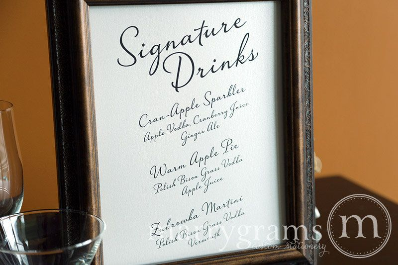 Marrygrams Makes Beautiful Wedding Paper Products Custom Signature Drinks Sign Diagonal Style