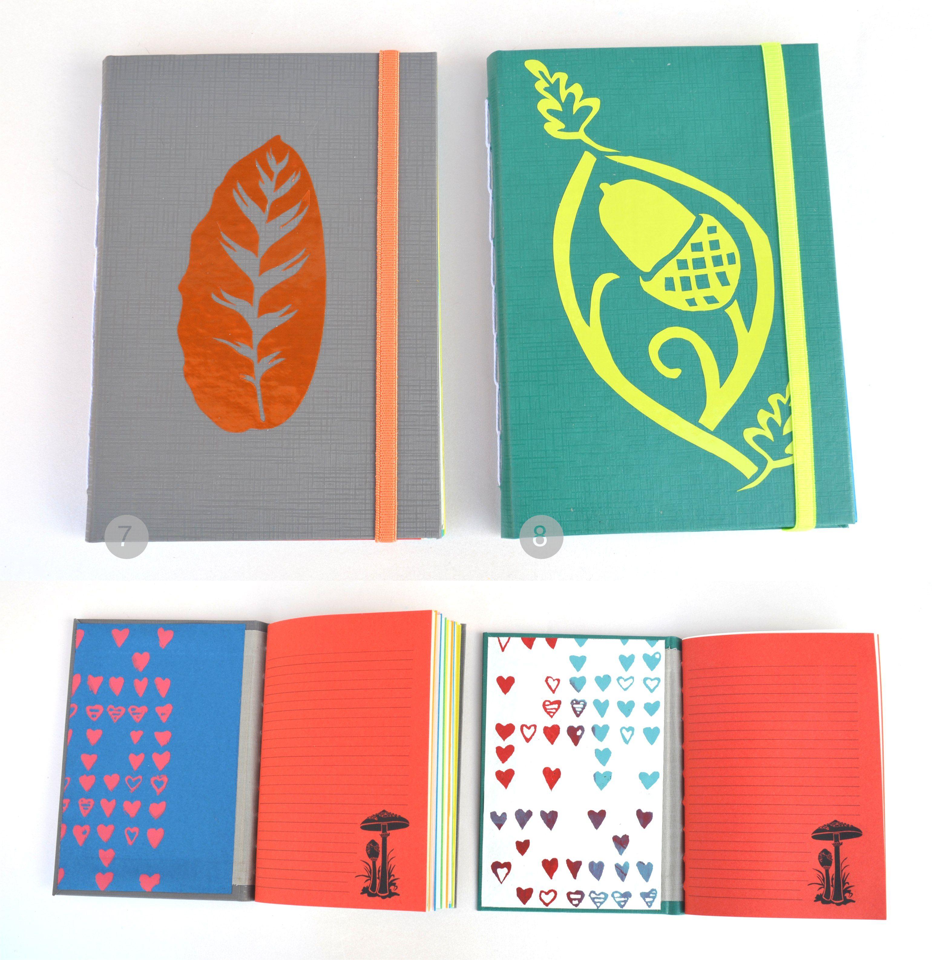 Libretas de bolsillo – tapas de cartón de 1mm cubiertas de papel plástico telado + vinilo - papel de guarda artesanal deEntrerizomasy Mantarraya Lunar – cosidas a mano – 50 hojas rayadas + dibuj...