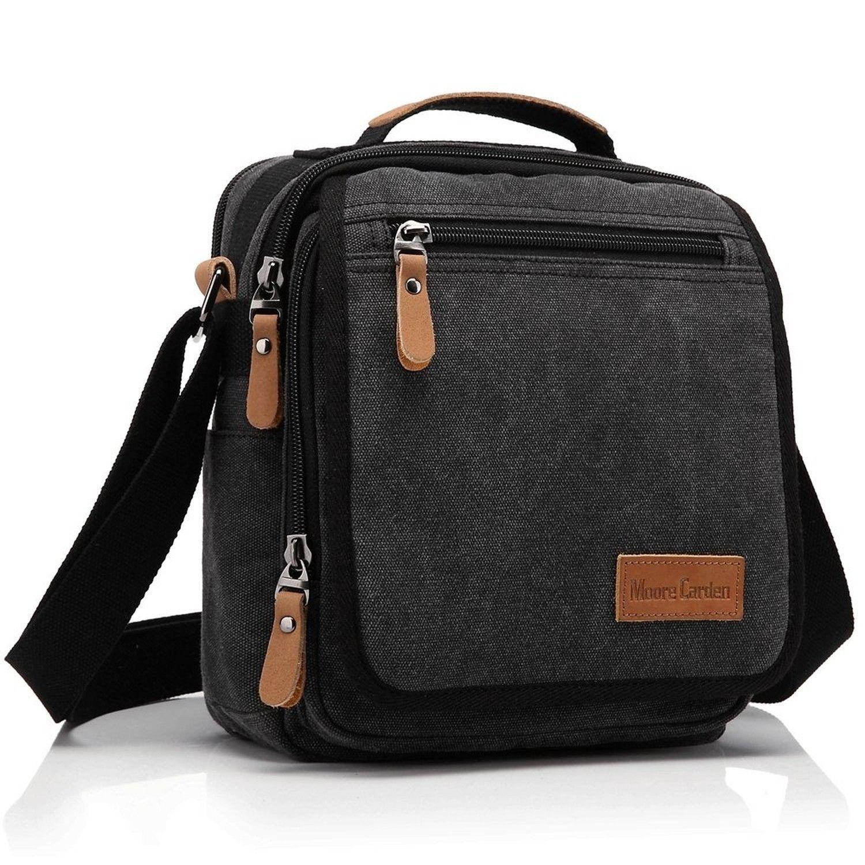 7cf8ee0c30 Ibagbar Small Canvas Shoulder Bag Messenger Bag Work Bag Black ...