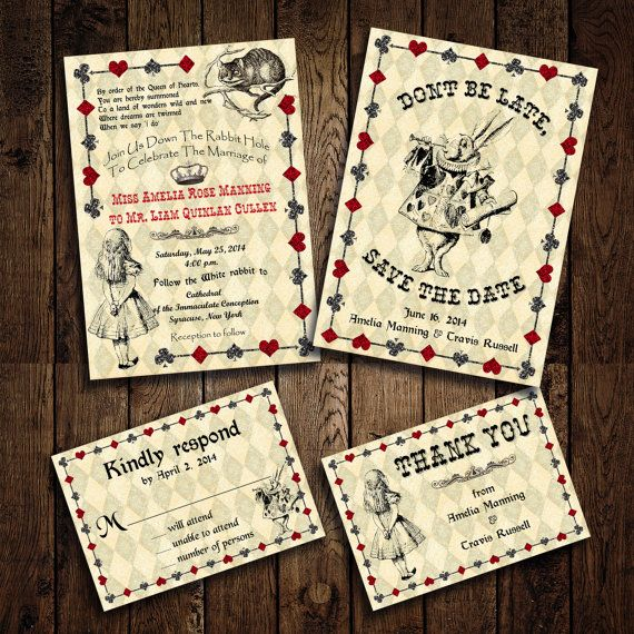 Printable Alice in Wonderland Wedding Invitation Set RSVP Card