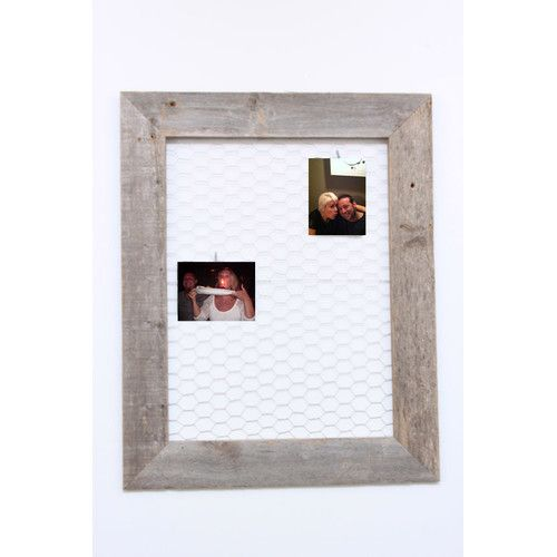 Found it at Wayfair Supply - Barn Wood Chicken Wire Message and Photo Memo Board