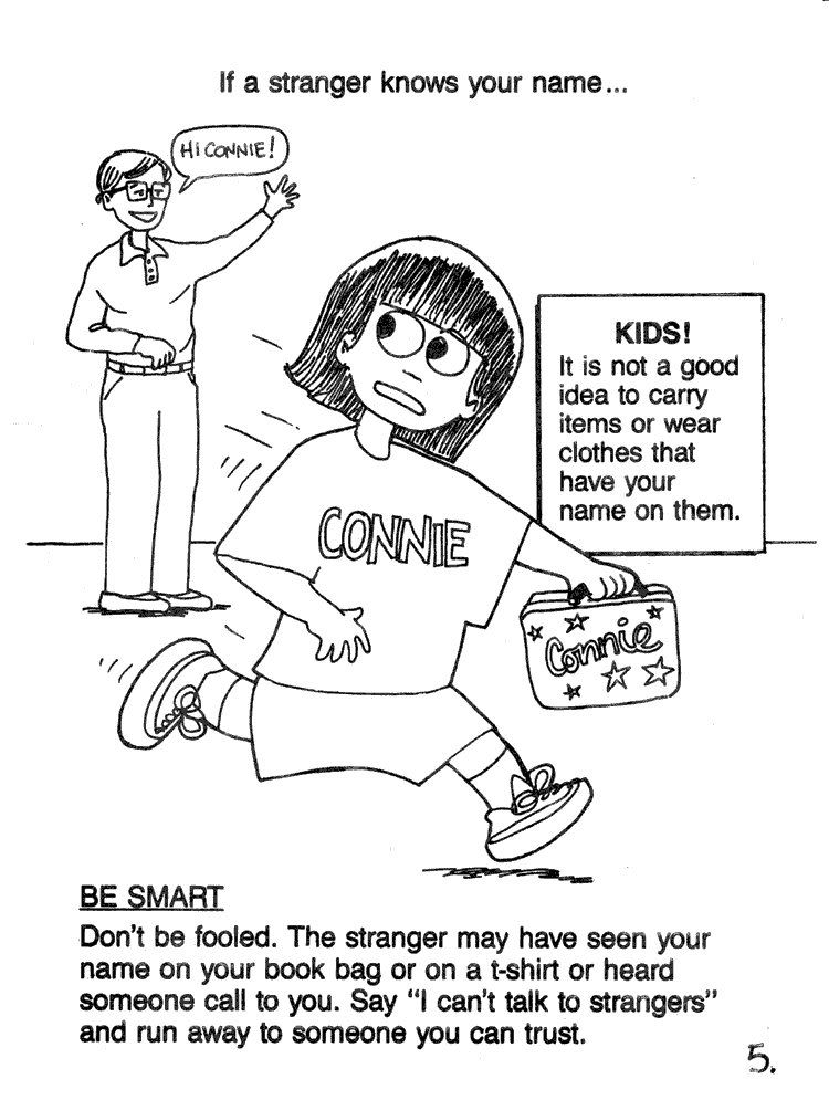 Free Stranger Safety Coloring Sheet Coloring Book Sheet 5