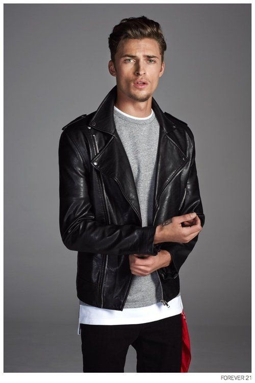 Men's Black Leather Biker Jacket, Grey Crew-neck Sweater, White ...