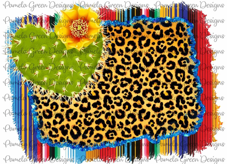 Cactus Serape Leopard Glitter Sublimation Digital Design