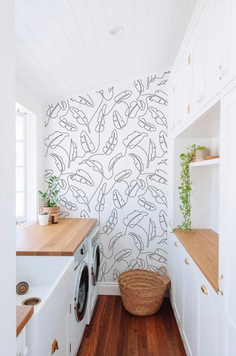 One Line Banana Leaf Peel And Stick Wallpaper Modern Wallpaper Self Adhesive Wallpaper Removable Wallpaper Easy Diy Wall Mural Jd032 In 2020 Leaf Wallpaper Peal And Stick Wallpaper Decor