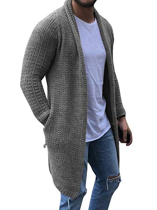 Enjoybuy Mens Open Front Shawl Collar Cardigan Sweaters