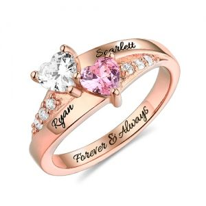 d486e283267b2 Engraved Double Heart Birthstone Ring In Rose Gold in 2019 | jewelry ...
