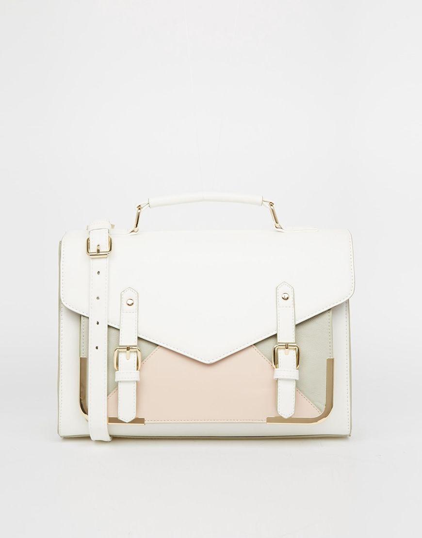 ASOS Satchel Bag with Metal Bar Detail      €34.16