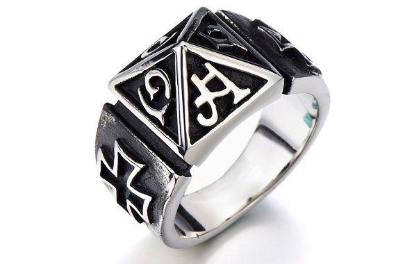 Mens Cross Biker Ring Gothic Eye Band Masonic Silver Stainless Steel  Ring Band