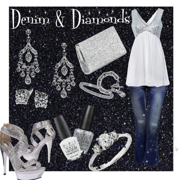 Denim Diamonds Fashion Collage By Daniellejevette Created On Polyvore Diamonds And Denim Party Diamond Party Denim And Diamonds