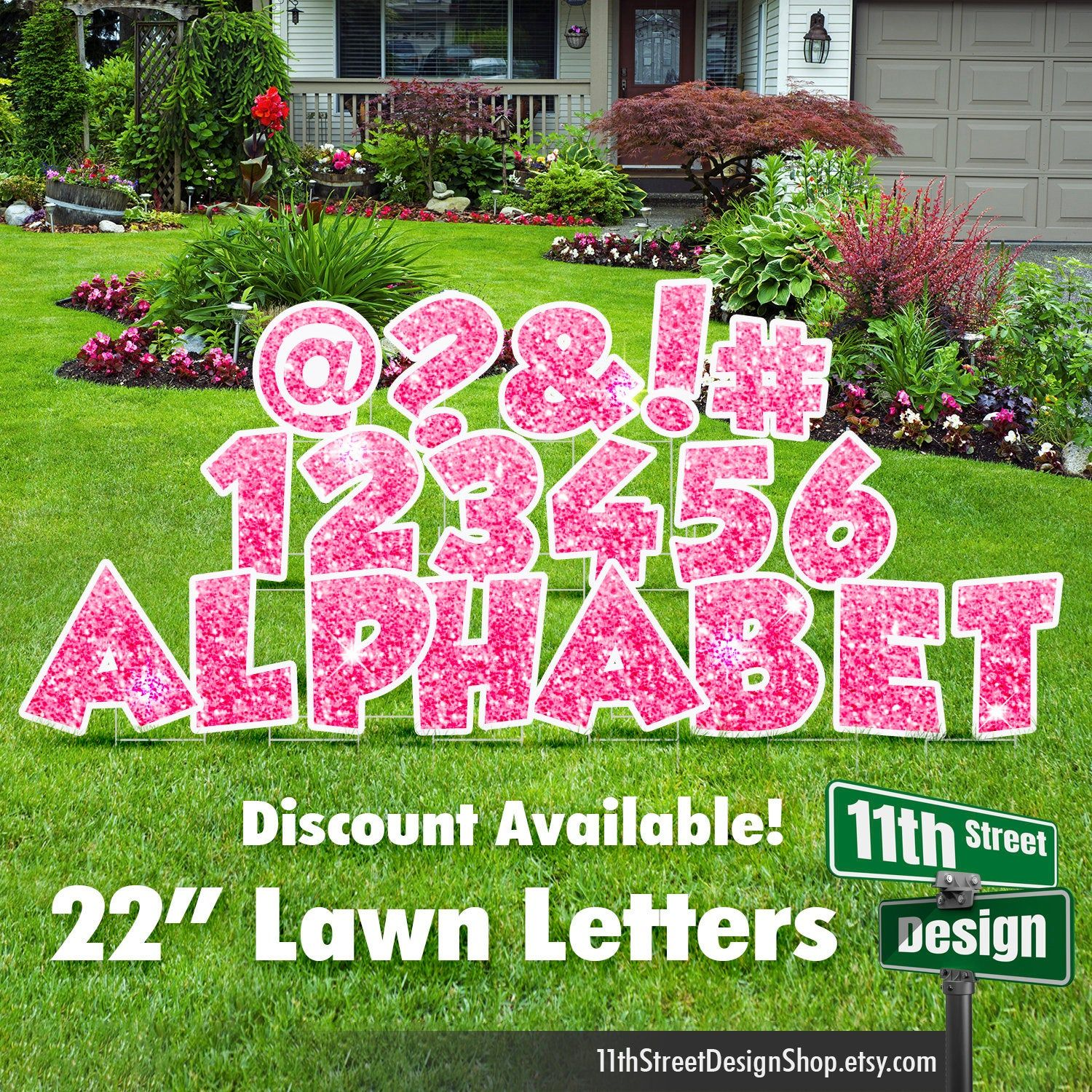 22 Pink Sparkle Lawn Letter Yard Signs 22 Chunky Etsy Yard Cards Happy Birthday Yard Signs Birthday Yard Signs