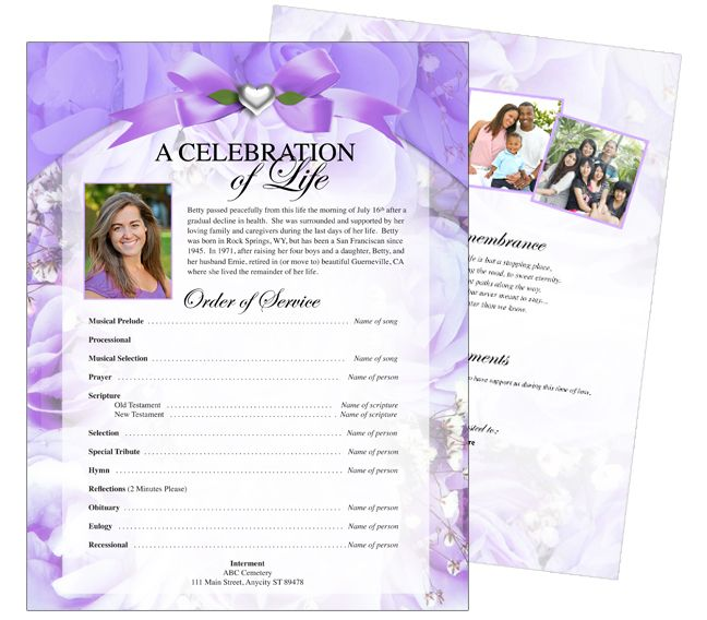 Elegant And Lovely Funeral Flyers Templates Floral Amethyst One