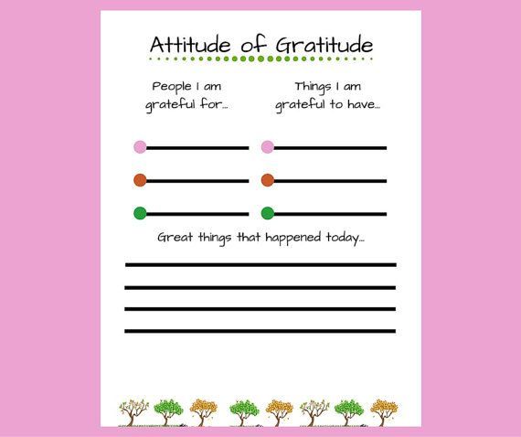 Digital Download Attitude Of Gratitude This Printable Worksheet Is