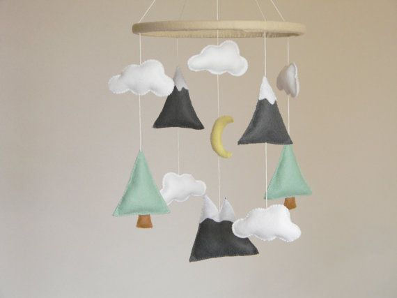 Mountains Baby Mobile Crib Modern Nursery Felt And Tree Mountain Decor Cloud Cot Mint Gray