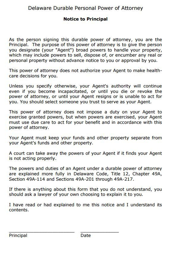 Delaware Durable Power of Attorney Form Power of