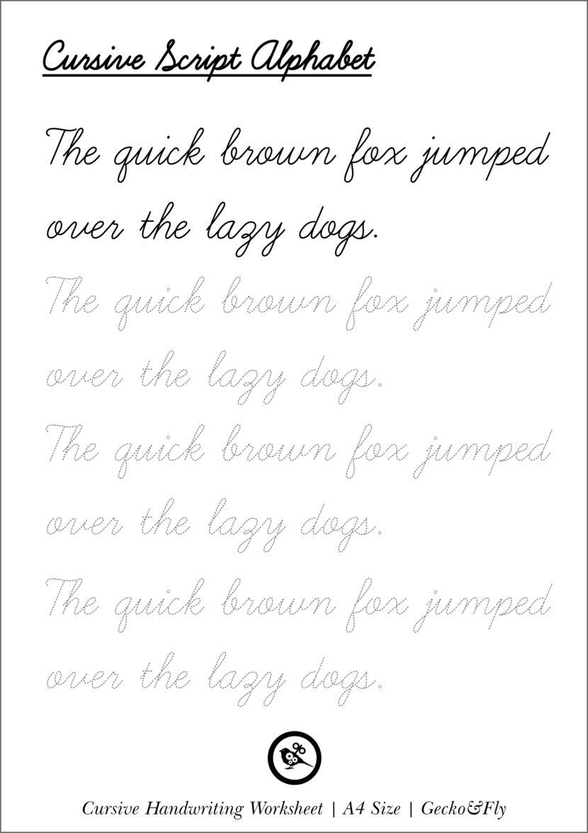 5 Printable Cursive Handwriting Worksheets For Beautiful