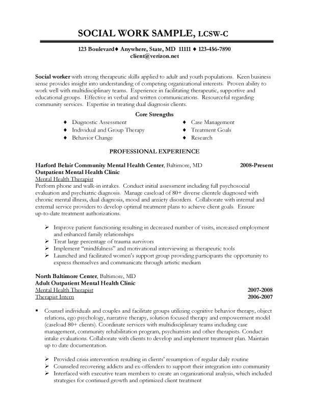 entry level social worker resume samples