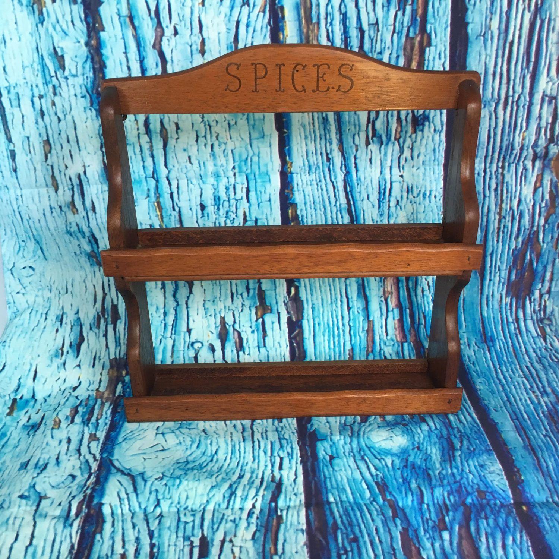 Vintage Wooden Two Tier Spice Rack, kitchen decor, spice storage ...
