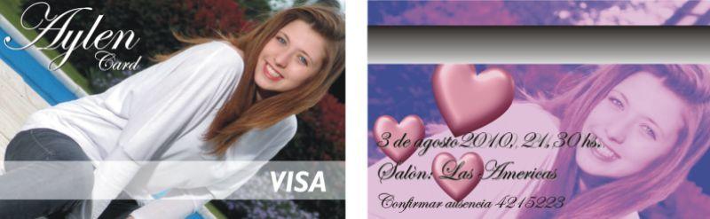 Tarjetas tipo debito para tus invitaciones de 15! Doble faz color, con los datos que vos elijas. La muestra es SIN CARGO!!!