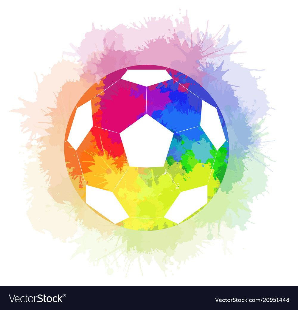 Soccer Ball With Watercolor Rainbow Background And Vector Image On Vectorstock Soccer Art Soccer Ball Rainbow Background