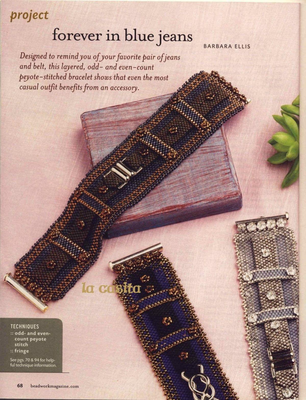 Схемы: Браслет Forever in Blue Jeans. Beadwork 2009 08-09