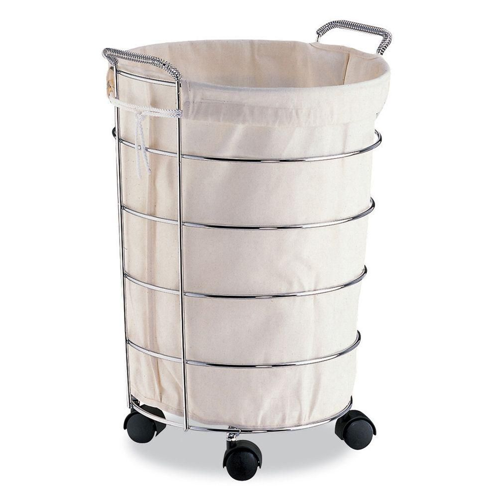 Laundry Basket With Canvas Bag Chrome W Canvas Rolling Laundry