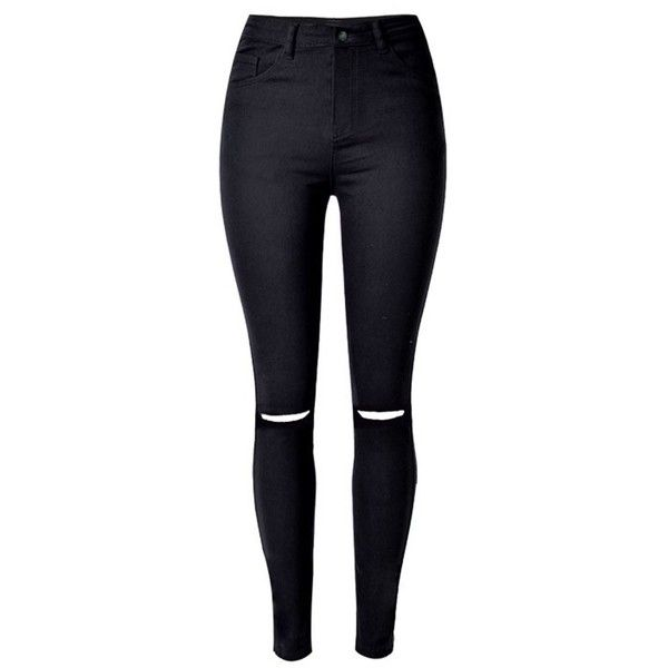 Skinny High Waist Destroyed Jeans Black