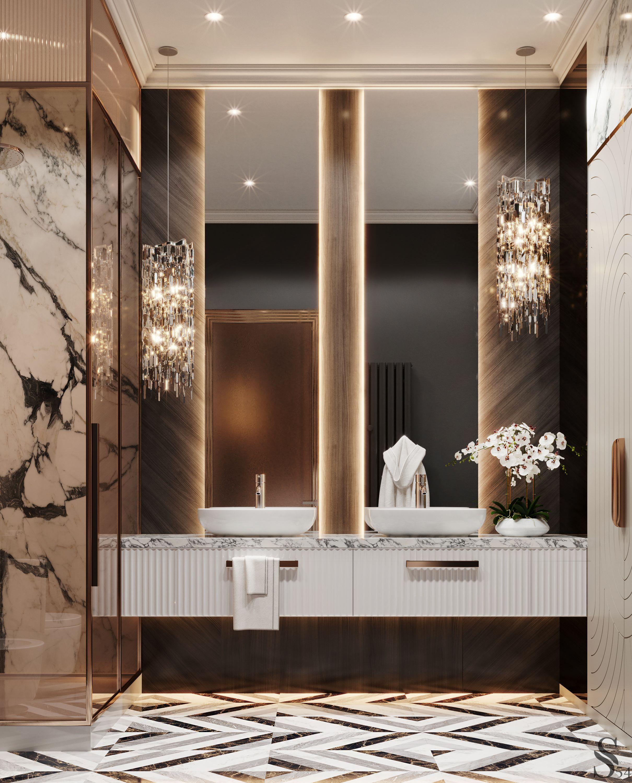 Men's master bathroom. Elegant interior with contr