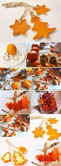 Craft using orange peels. Das ist mal ne simple Idee. Duftet und schmückt gleichzeitig typisch weihnachtlich!!!!!!!!!!! Genial