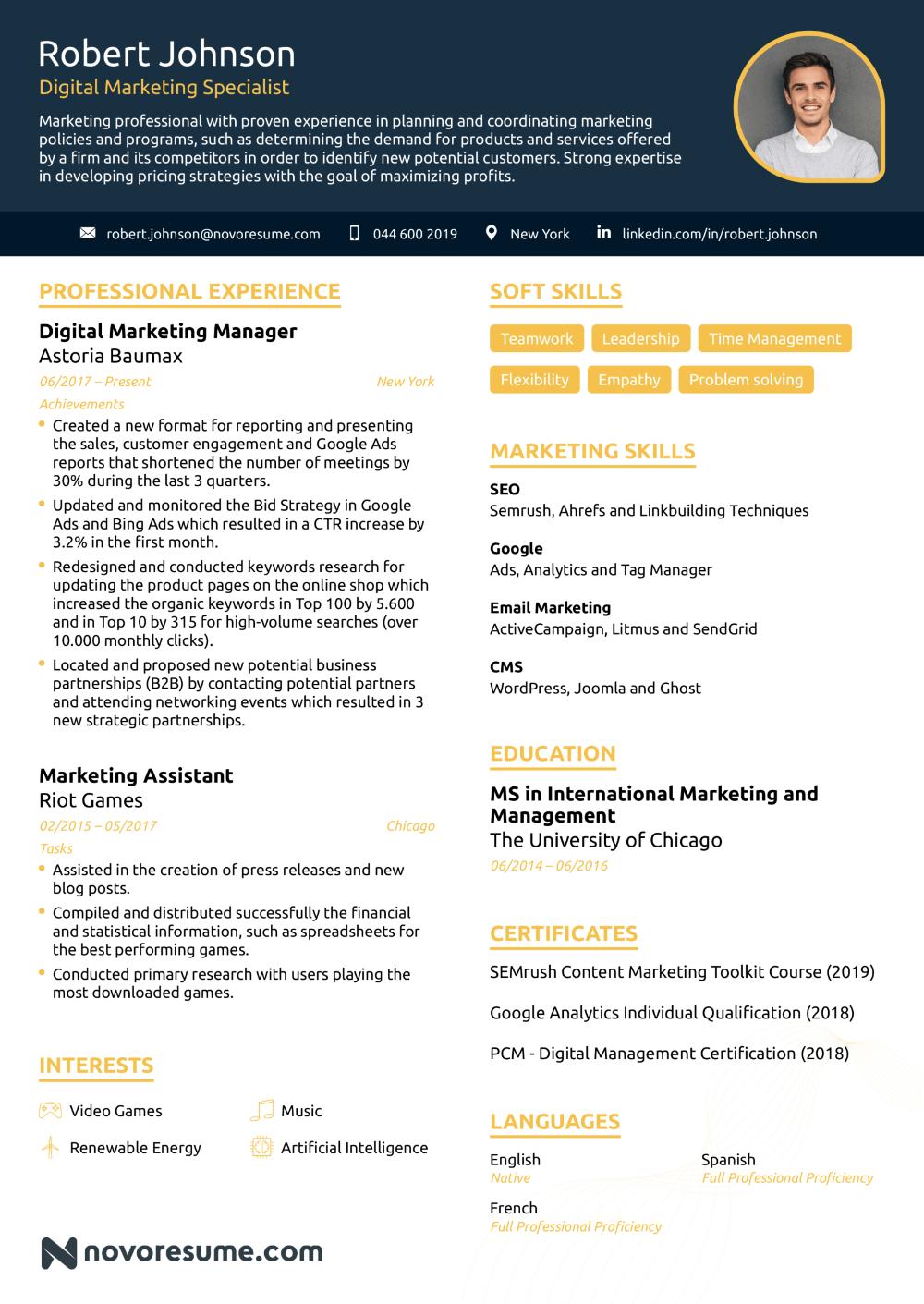 Resume Templates Marketing 5 Templates Example Blog