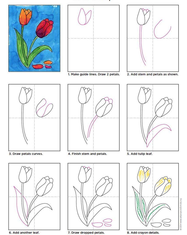 Draw A Tulip Art Projects For Kids Tulips Art Flower Drawing Flower Art