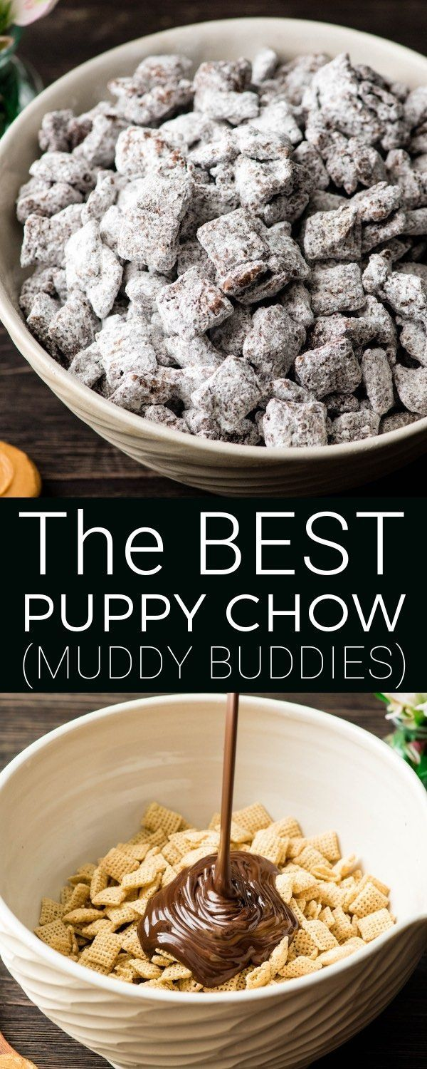 The Best Puppy Chow Recipe EVER! Only 4 ingredients and a few minutes results in an irresistible dessert loaded with chocolate and peanut butter! The perfect sweet treat to feed a crowd! AKA: Muddy Buddies! Plus, it's gluten-free, dairy-free, and vegan! Best Puppy Chow Recipe EVER! Only 4 ingredients and a few minutes results in an irresistible dessert loaded with chocolate and peanut butter! The perfect sweet treat to feed a crowd! AKA: Muddy Buddies! Plus, it's gluten-free, dairy-free, and vegan!