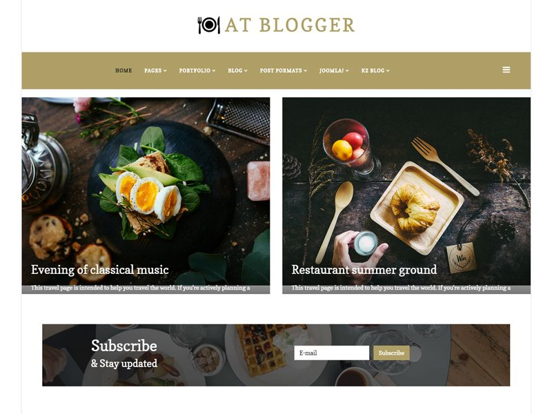 AT Blogger is Free Blog Joomla Template