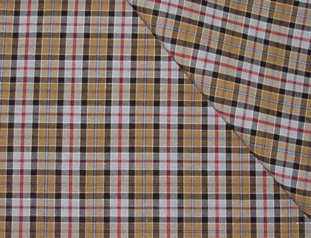 Mini-Tartan Pima Cotton, Gray/Tan/Red/Black/White