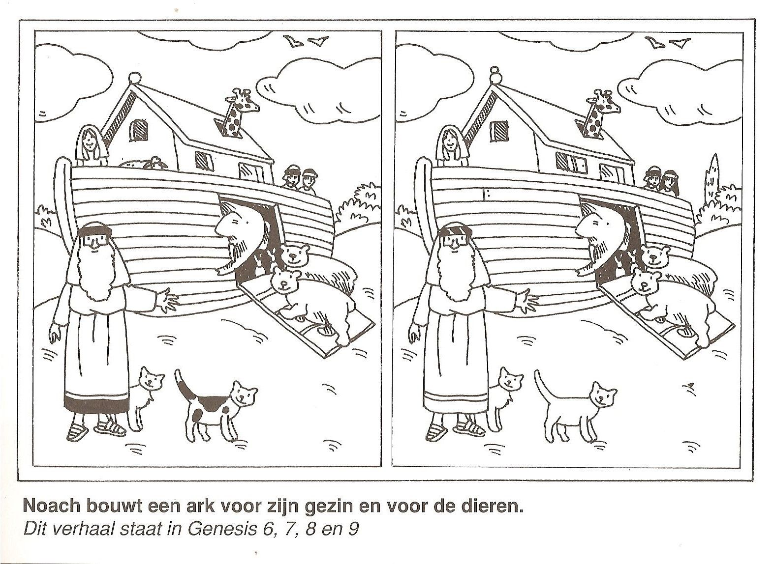 Noah Builds An Ark For His Family And For The Animals Find The 10 Differences Bijbel Kleurplaten Ark Ark Van Noach