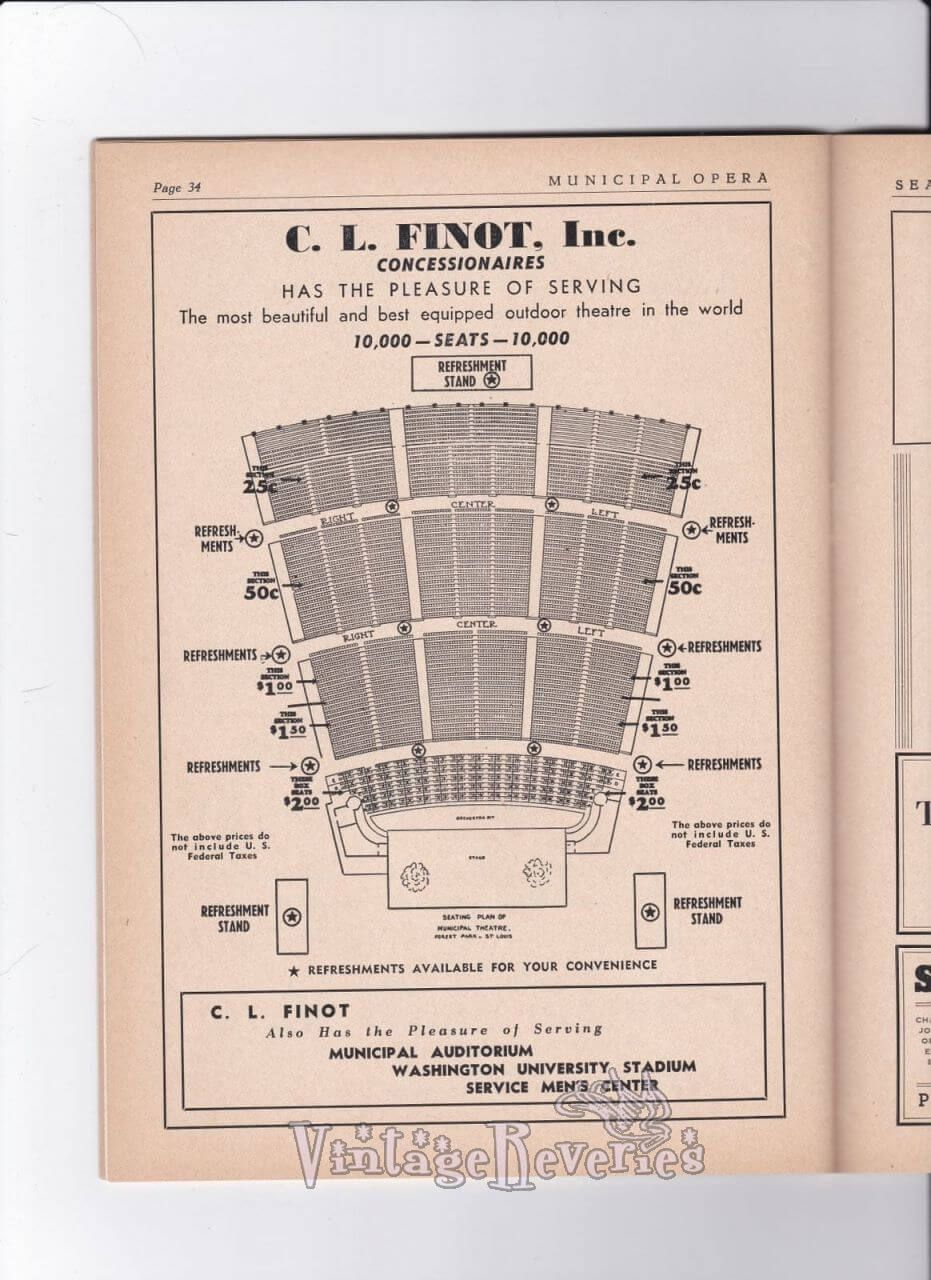 1940s St Louis Municipal Opera Seating Chart And Ads Seating Charts Opera Louis