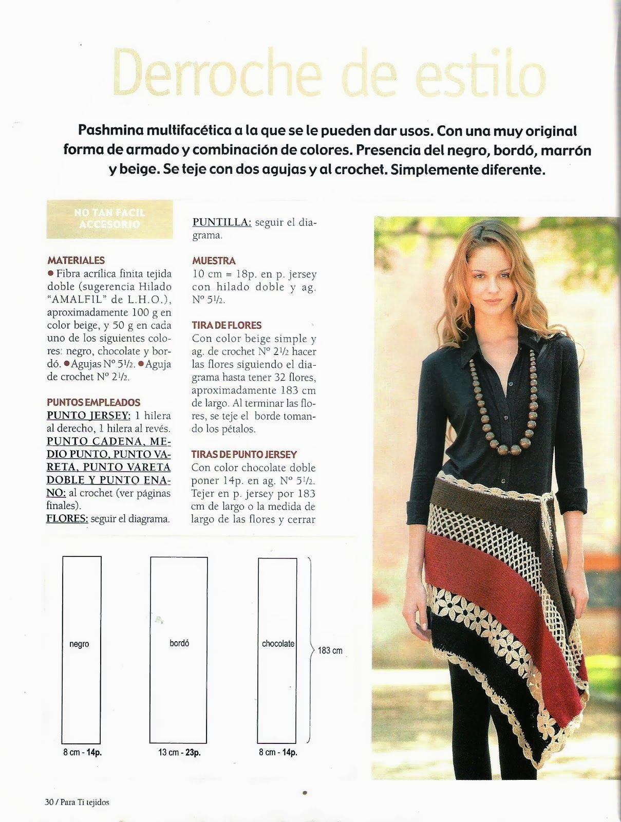 Faceted Pashmina Knitting Crochet Instructions - Crochet Patterns ...