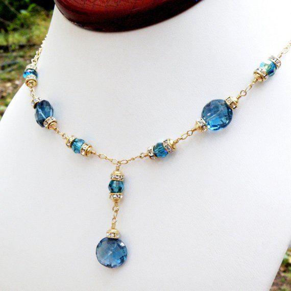 cadb2c7174338 Natural London Blue Topaz Necklace, Gold Filled, Y Drop Necklace ...