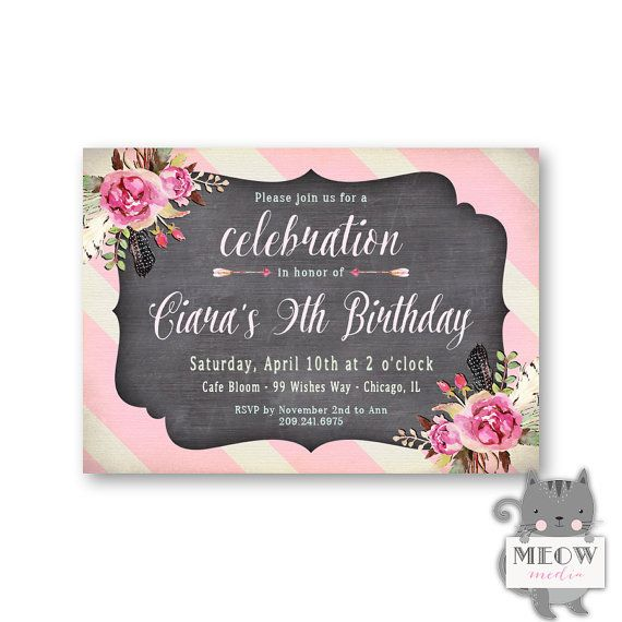 9th Birthday Invitation Girls Floral