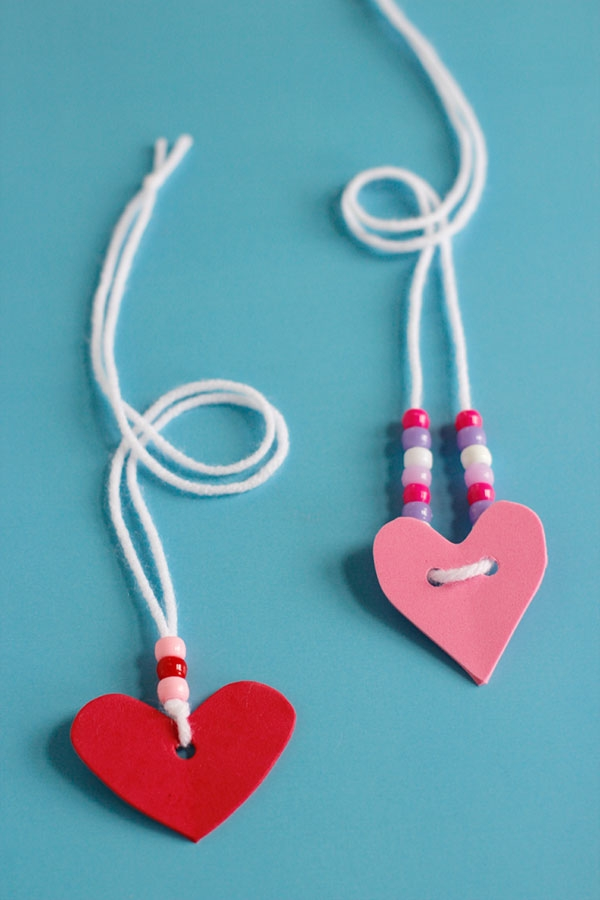 Craft Ideas: Foam Heart Friendship Necklaces
