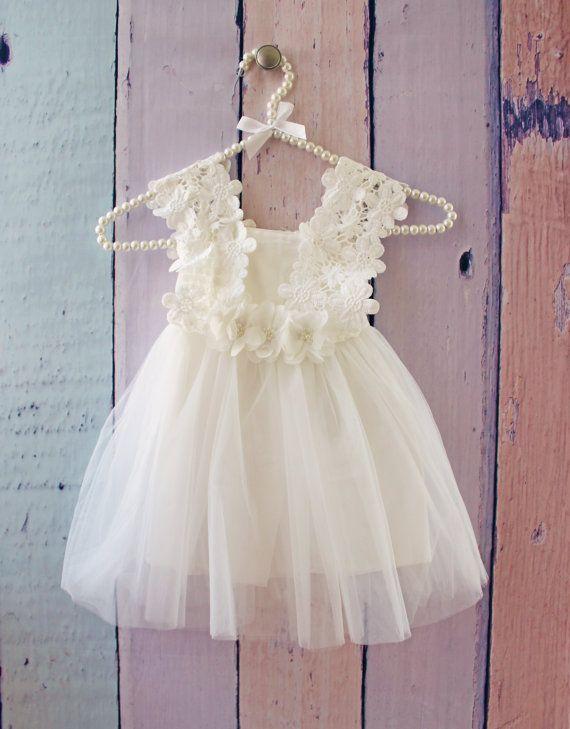 Las niñas Tutu vestido blanco vestido de boda flor por SewPearl