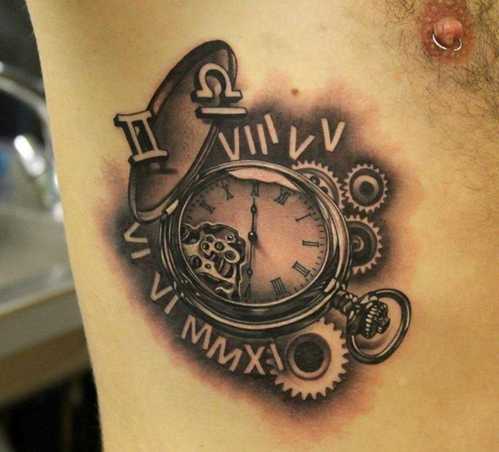 3d Clock And Time Tattoo By Phatt German Clock Tattoo Watch