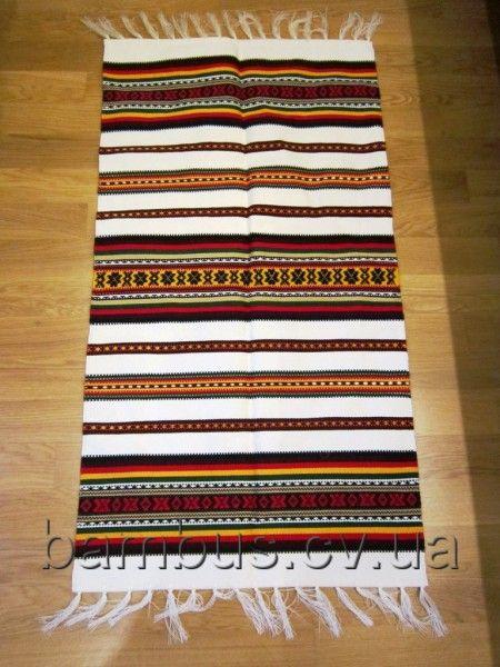 Дорожка тканая (коврик) акрил белый с гуцульским орнаментом 100*53 см
